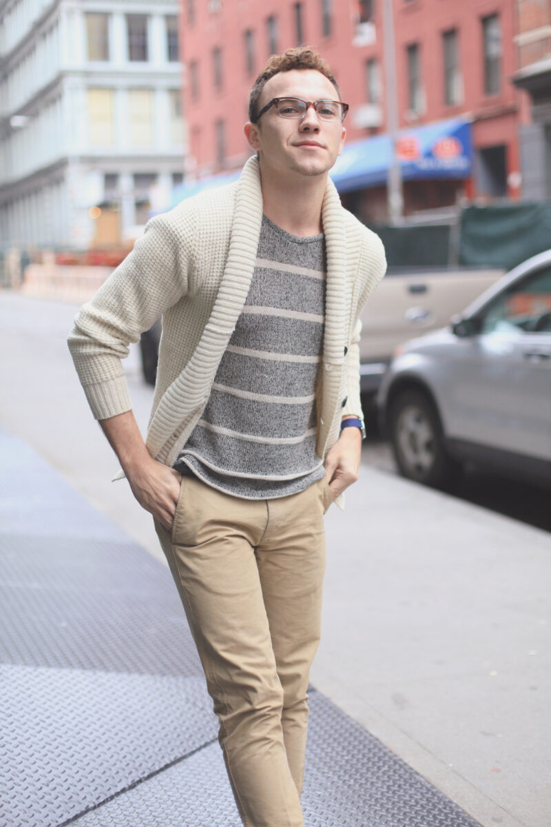 New York City Men's Fashion Blog / LAEX Striped Tee, Khaki Chinos / Ombre Glasses / Cream Sweater