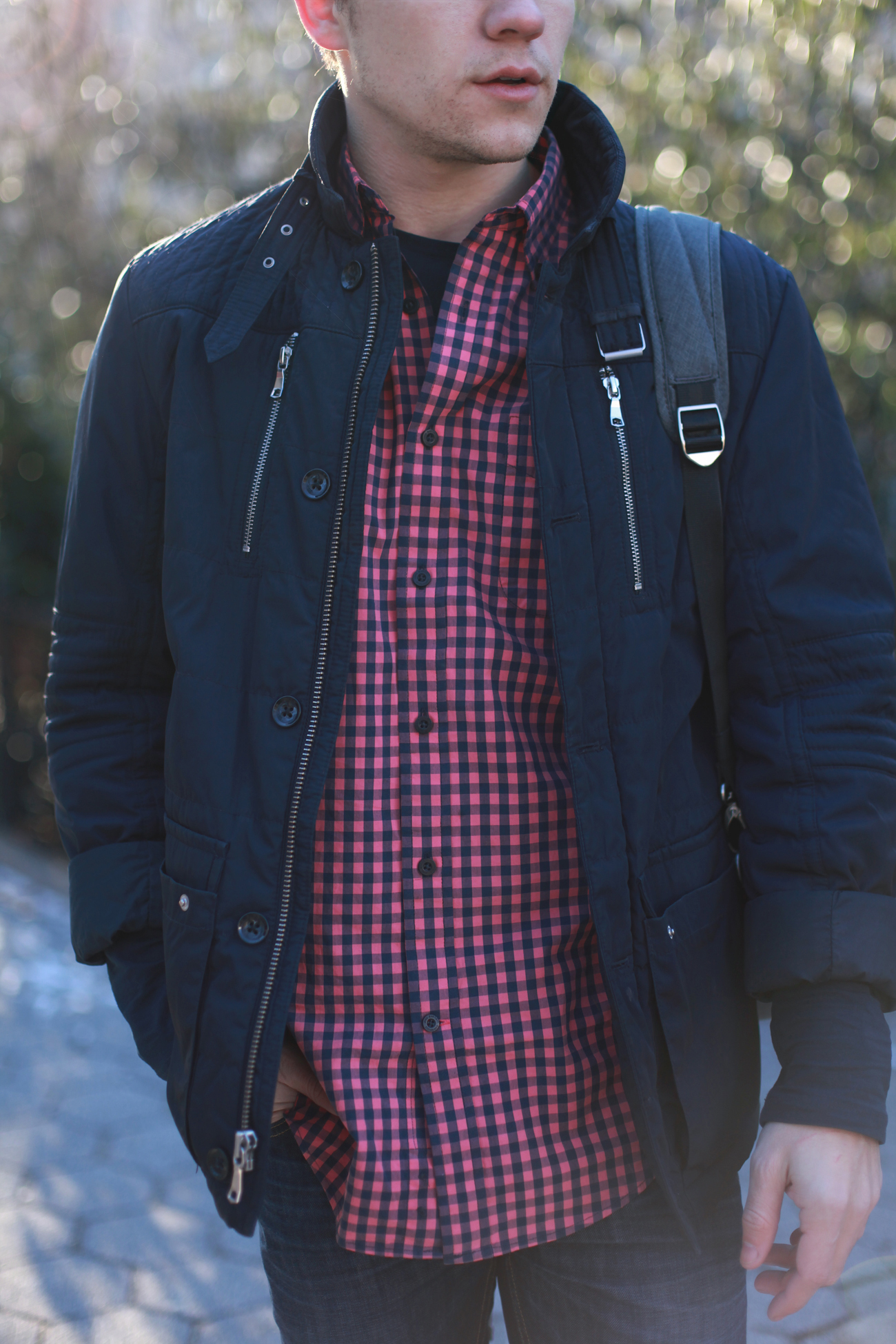 NY Men's Fashion Blog / Laptop Backpack / Red Gingham Shirt / Blue Quilted Jacket / Dark Wash Denim