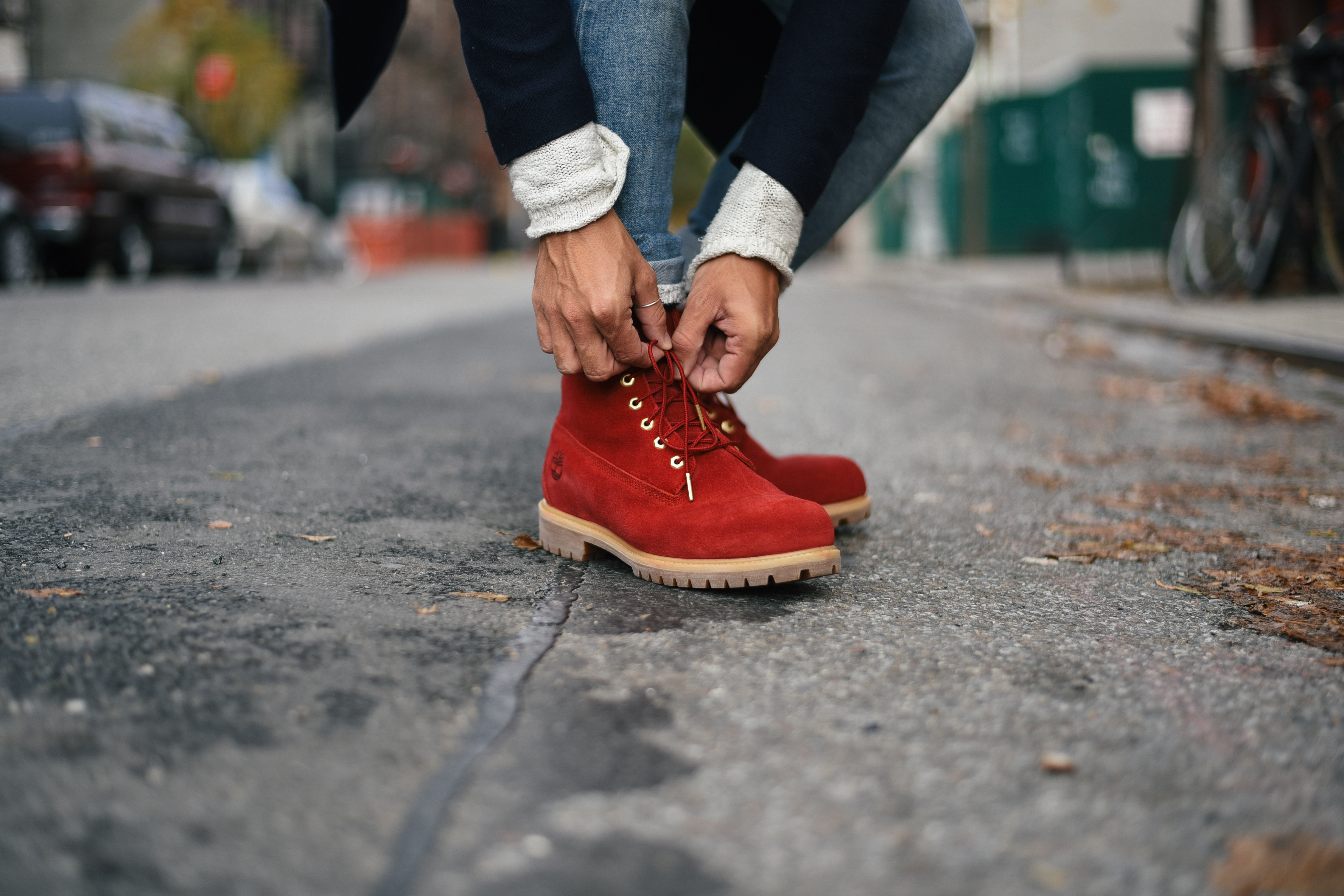 Men's Fashion Blogger Justin Livingston wears Timberland Nice Boots Holiday Boots in New York City