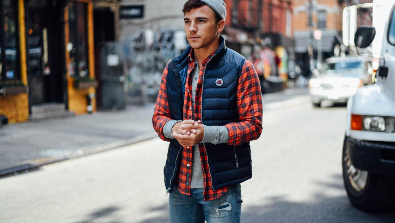 Men's Fashion Blogger Justin Livingston wears Abercrombie Men's Denim Plaid Shirt Puffer Vest in New York City
