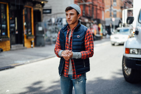 Men's Fashion Blogger Justin Livingston wears Abercrombie Men's Denim Plaid Shirt Puffer Vest in New York City