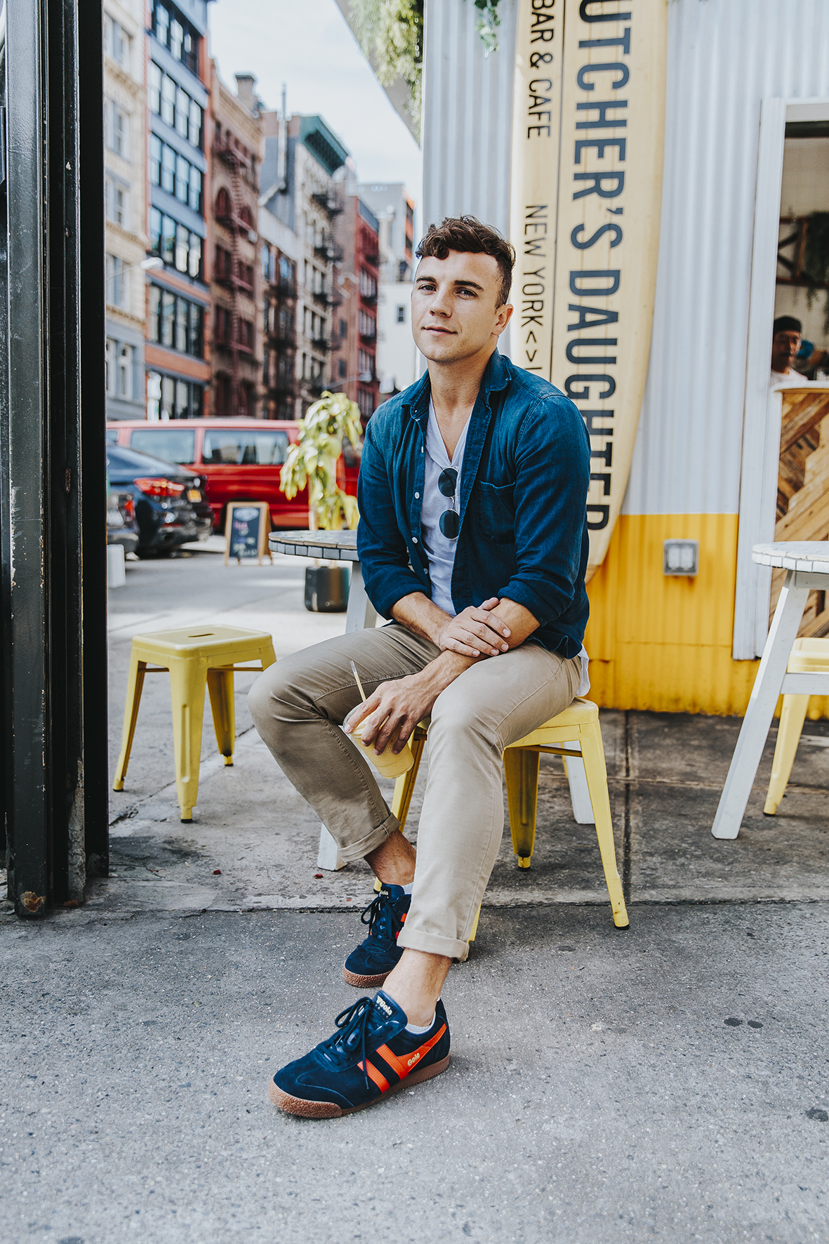 Men's Fashion and Lifestyle Blogger Justin Livingston wears Gola Classic Men's Harrier C83 Sneaker in New York City