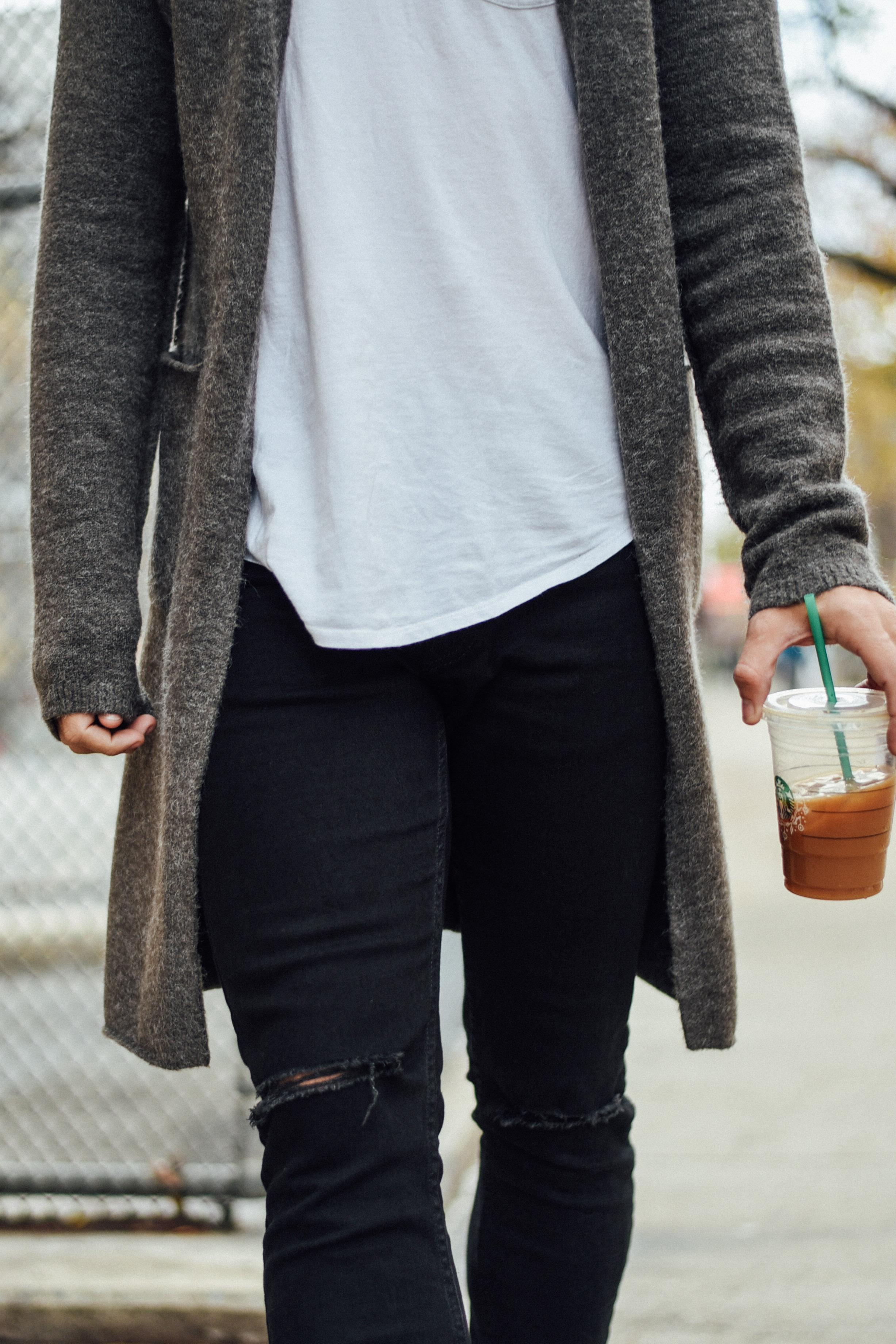 Men's Fashion Blogger Justin Livingston wears Topman Jacket Distressed Denim Black Chelsea Boots in New York City
