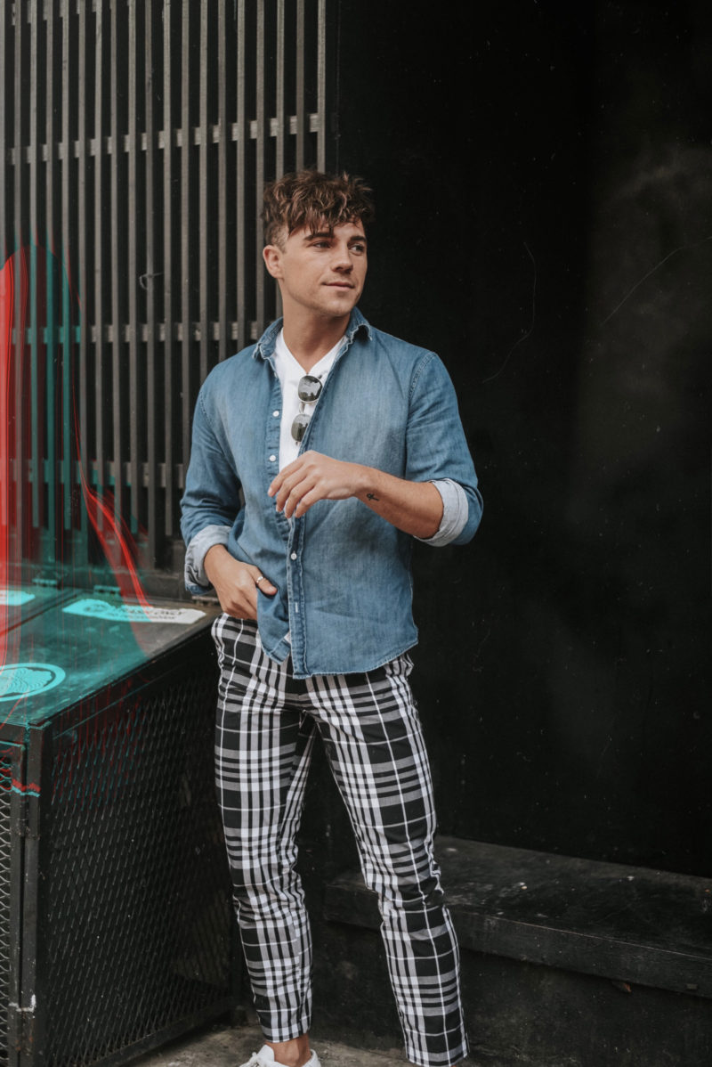 Printed Checked Trousers for Men
