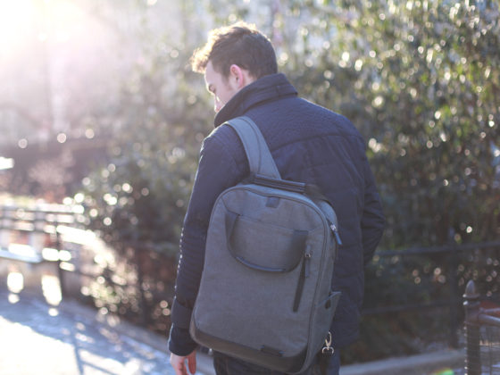 NY Men's Fashion Blog / Laptop Backpack / Red Gingham Shirt / Blue Quilted Jacket / Dark Wash Denim