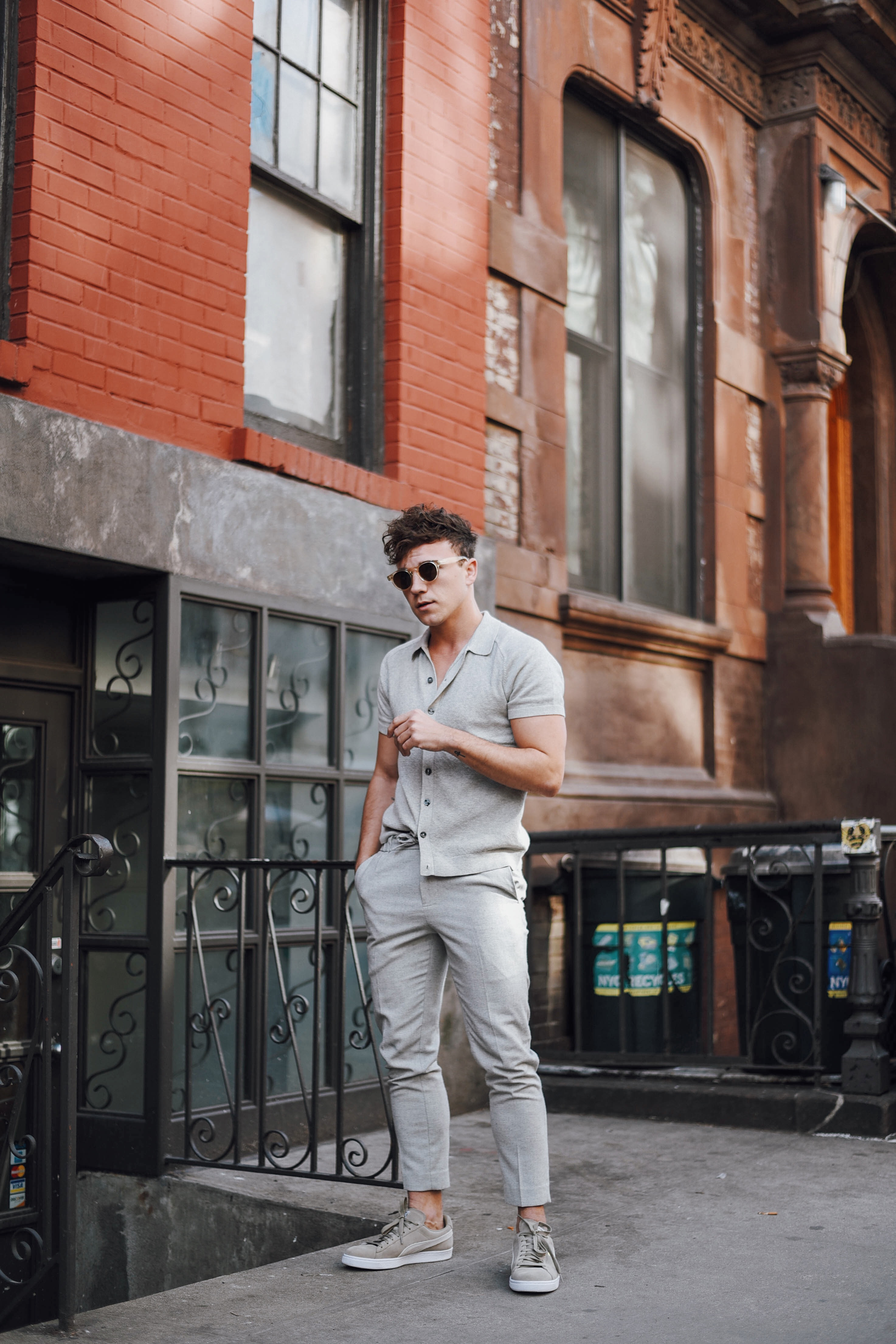 New York Men's Fashion Blogger Justin Livingston wears Abercrombie Button-Up Sweater Polo and Topman Cropped Trousers and PUMA Suede Classic