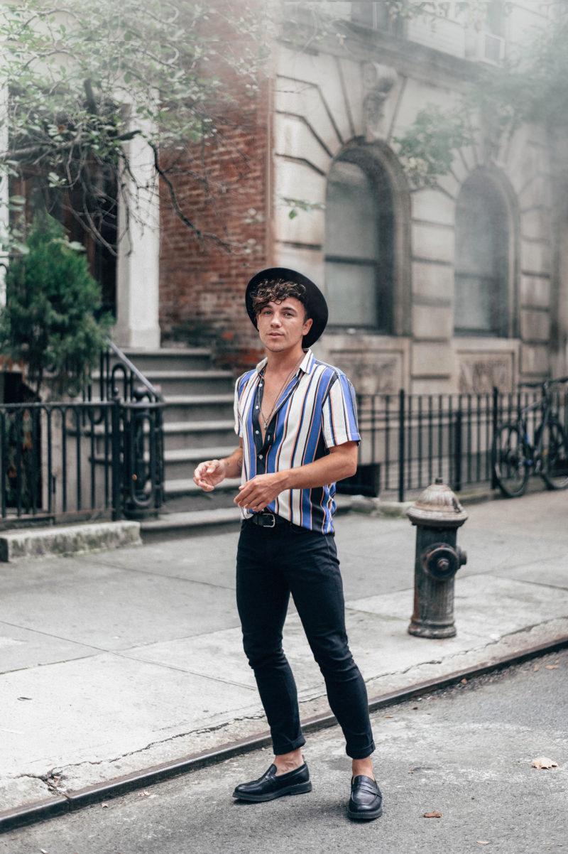 Scout Sixteen - Justin Livingston Vertical Retro Striped Shirt New York City Men's Fashion